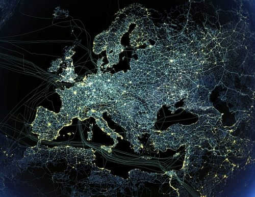 Technology That Is Taking Over Our Crowded Planet...***EXCLUSIVE***  SPACE, UNDATED: Human technology presence over Europe at night. Global map showing major road and rail networks over land, along with transmission line and underwater cable data superimposed over satellite images of cities illuminated at night. This image illustrates modern human impact on the planet.  A SCIENTIST has created an incredible global snapshot depicting how power lines, roads and even air traffic corridors have come to dominate the surface of Mother Earth. Earlier this week, the United Nations Populations Fund revealed that by October 31st, the global population will stand at seven billion - an extra on billion compared to 1999. To show some of the impacts of this vast human upheaval on the planet, anthropologist and science communicator Felix Pharand-Deschenes has created a series of stunning visualisations based on real data. They show air traffic routes; the underwater cables that carry the internet; road and rail networks; electricity transmission lines ñ all superimposed over cities at night. Itís a spiderís web of global human activity, all connected to the cities where the majority of people live and work. For the first time in history, more people live in cities than in the countryside. These images give a visual idea of how we have become the first species we know of to actually transform a planet. For example, weíve tarmaced, concreted or paved over 3% of the worldís land surface. Thatís 4.5 million square kilometres, an area greater than India. And itís growing all the time.  PHOTOGRAPH BY Felix Pharand-Deschenes / SPL/ Barcroft Media  UK Office, London. T +44 845 370 2233 W www.barcroftmedia.com  USA Office, New York City. T +1 212 564 8159 W www.barcroftusa.com  Indian Office, Delhi. T +91 11 4101 1726 W www.barcroftindia.com  Australasian & Pacific Rim Office, Melbourne. E info@barcroftpacific.com T +613 9510 3188 or +613 9510 0688 W www.barcroftpacific.com